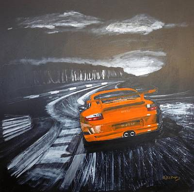 Painting - Porsche Gt3 @ Le Mans #3 by Richard Le Page
