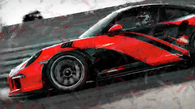 Painting - Porsche Gt3 Rs - 01 by Andrea Mazzocchetti
