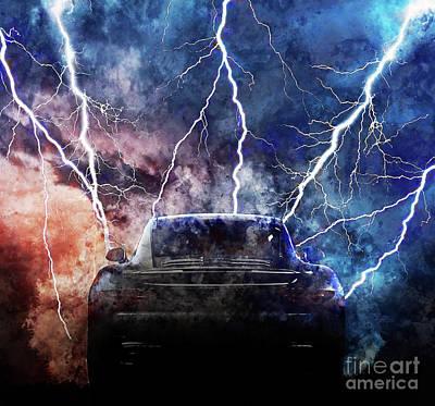 80s Painting - Porsche Lightning Storm by Jon Neidert