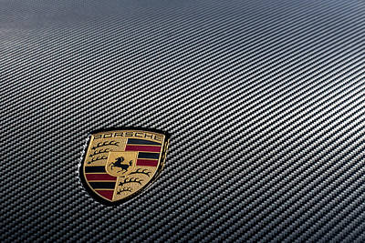 Photograph - Porsche Logo On Carbon Front Boot Lid by 2bhappy4ever