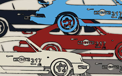 Zandvoort Digital Art - Porsche Martini 317 by 2bhappy4ever