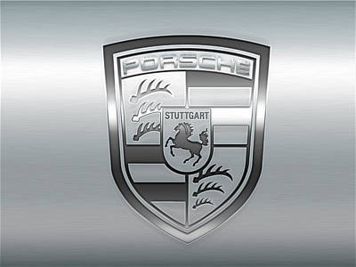 Digital Art - Porsche Metal Logo by Carlos Diaz