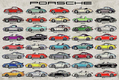 Marker Wall Art - Digital Art - Porsche Poster by Yurdaer Bes