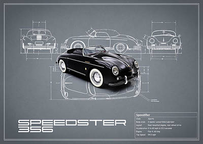 Classic Porsche 356 Photograph - Porsche Speedster Blueprint by Mark Rogan