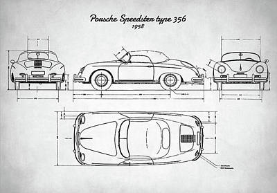 Digital Art - Porsche Speedster Type 356 by Taylan Apukovska