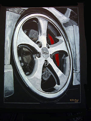 Painting - Porsche Techart Wheel by Richard Le Page