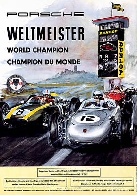Champion Digital Art - Porsche Weltmeister Vintage Poster by Georgia Fowler