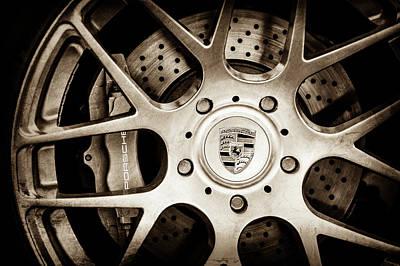 Porsche Logo Photograph - Porsche Wheel Emblem -1323s by Jill Reger