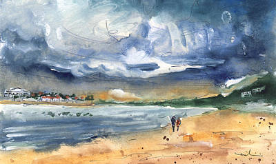 Beach Landscape Drawing - Port Alcudia Beach 03 by Miki De Goodaboom