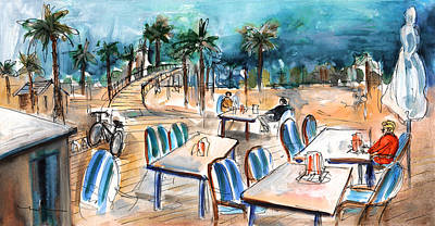 Beach Landscape Drawing - Port Alcudia Beach Cafe by Miki De Goodaboom