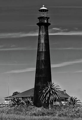 Photograph - Port Bolivar Lighthouse Black And White by Judy Vincent