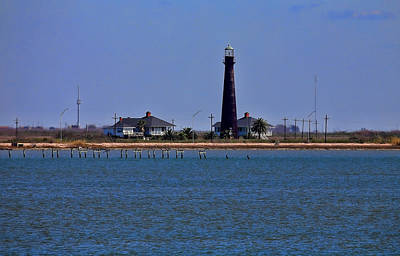 Photograph - Port Bolivar Lighthouse From The Bay by Judy Vincent