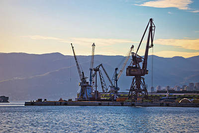 Photograph - Port City Of Rijeka Cranes At Harbor View by Brch Photography