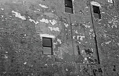 Photograph - Port Huron Wall 2 Needs Paint Bw by Mary Bedy