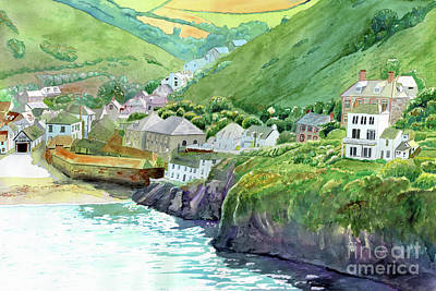 Painting - Port Isaac, Port Wenn, Cornwall, Doc Martin, Cornwall Painting, Harbor Painting by LeAnne Sowa