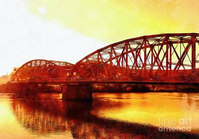 Port Jervis Ny Bridge - Sienna Skies  Art Print by Janine Riley