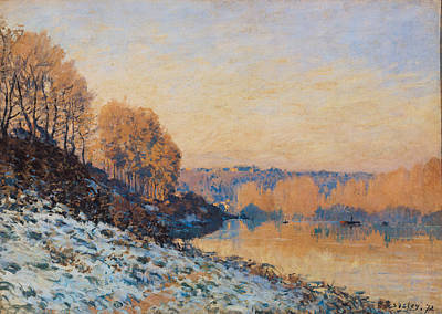 Port Marly White Frost Print by Alfred Sisley