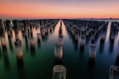 Orange Photograph - Port Melbourne Australia At Dusk by Georgiana Romanovna