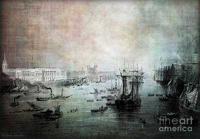 Port Of London - Circa 1840 Print by Lianne Schneider