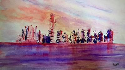 Painting - Port Of Miami Abstract by Anne Sands