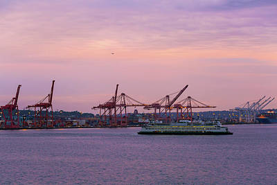 Wall Art - Photograph - Port Of Seattle During Colorful Sunset by David Gn