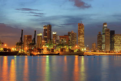 Central Photograph - Port Of Singapore With City Skyline by David Gn