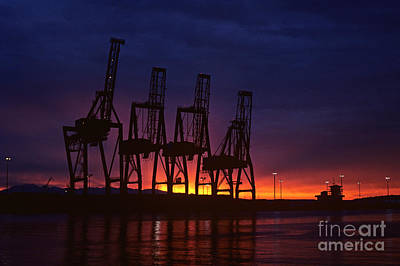 Photograph - Port Of Tacoma Retro Image Sunset by Jim Corwin