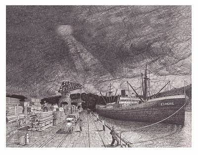 Winter Storm Drawing - Port Of Tacoma Wa Waterfront by Jack Pumphrey