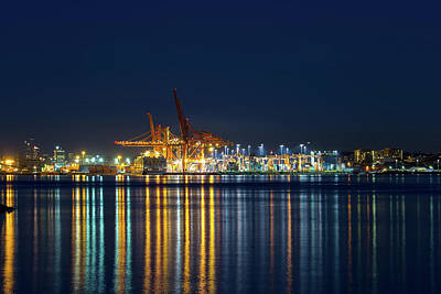 Photograph - Port Of Vancouver Bc Blue Hour by David Gn