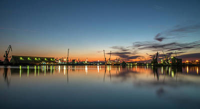 Photograph - Port On Sunset With Water Reflections by Radoslav Nedelchev