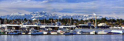 Photograph - Port Orchard Marina And The Olympics by John Bushnell