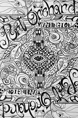 Drawing - Port Orchard Washington Zentangle Collage by Jani Freimann