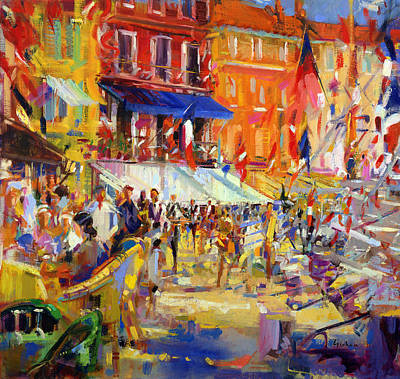 Port Promenade Saint-tropez Art Print by Peter Graham