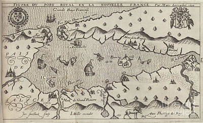 Photograph - Port Royale Map By Marc Leboscot 1609 by Rick Bures