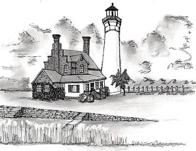 Drawing - Port Sanilac Light by Paul Meinerth