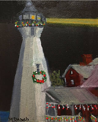 Painting - Port Sanilac Lighthouse At Christmas by Michael Daniels