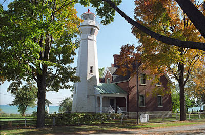 Michigan Port Sanilac Painting - Port Sanilac Lighthouse by Dennis  Rundlett