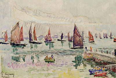 Harbor Drawing - Port St Louis by Paul Signac