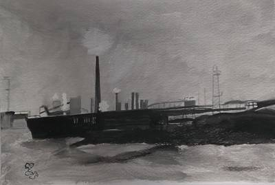 Painting - Port Talbot Steel Works by Carole Robins