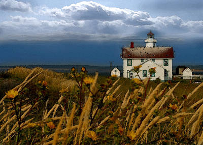 Digital Art - Port Townsend Light House Wa by Joseph G Holland