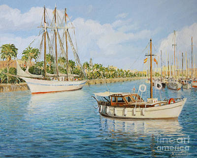 Painting - Port Vell In Barcelona by Kiril Stanchev