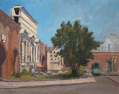Tram Red Painting - Porta Maggiore Rome by Kelly Medford