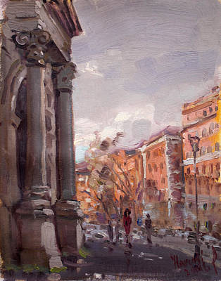 Urban Landscape Painting - Porta Pia Rome by Ylli Haruni