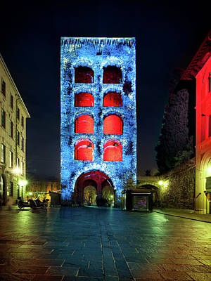 Photograph - Porta Torre, Como Monuments Illuminated In Christmas Time, Lomba by Alfio Finocchiaro