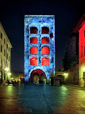 Photograph - Porta Torre, Como Monuments Illuminated In Christmas Time, Lomba by Alfio Finocchiaro