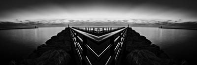 Fantasy Royalty-Free and Rights-Managed Images - Portage Lake Pier Black and White Reflection by Pelo Blanco Photo
