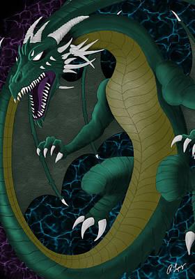 Print featuring the digital art Portal Dragon by Raphael Lopez
