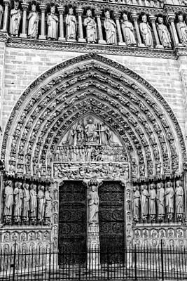 Photograph - Portal Of Last Judgment, Notre Dame, Paris In Black And White by Kay Brewer