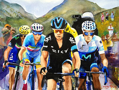 Shirley Painting - Porte Quintana Froome And Nibali by Shirley Peters