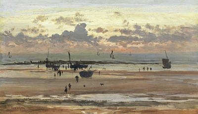 Sunset At The Beach Painting - Portel Fisher Folk, 1875 by William Lionel Wyllie